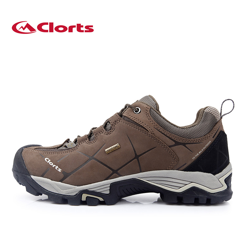 ФОТО 2016 Clorts Men Autumn Winter Trekking Shoes Waterproof Real Leather Low Cut Non-slip Outdoor Shoes HKL-805A