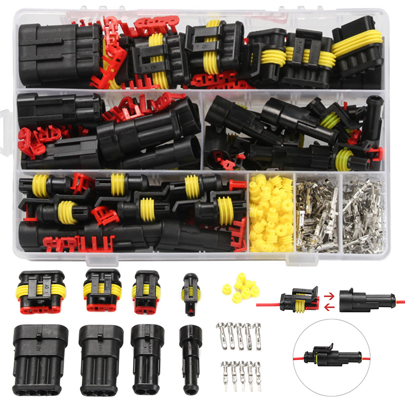 240PCS HID Waterproof 1/2/3/4Pin Terminal Electrical Wire Connectors Assortment Kit