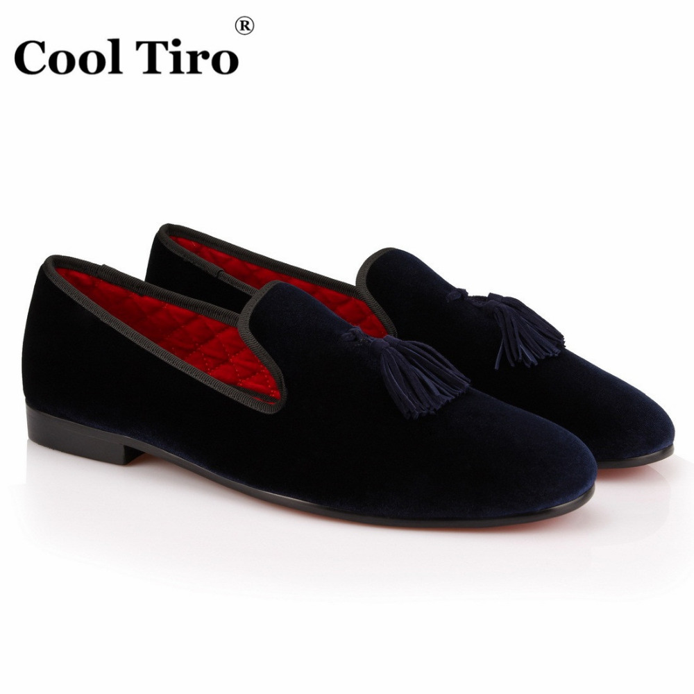 COOL TIRO Handmade Slippers Loafers tassel Men dark blue Velvet Fashion Shoes Luxurious Prom Wedding Loafers Chaussure Homme