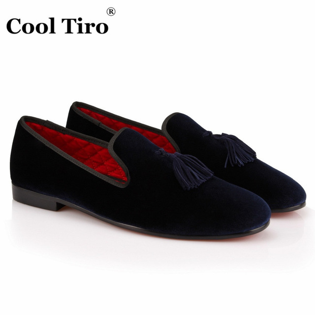 adbd1a4ca COOL TIRO Handmade Slippers Loafers tassel Men dark blue Velvet Fashion  Shoes Luxurious Prom Wedding Loafers Chaussure Homme