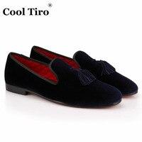COOL TIRO Handmade Slippers Loafers Tassel Men Dark Blue Velvet Fashion Shoes Luxurious Prom Wedding Loafers