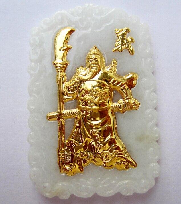 Pure 24k Yellow Gold 100% Natural /Jadeite Big Guangong PendantPure 24k Yellow Gold 100% Natural /Jadeite Big Guangong Pendant
