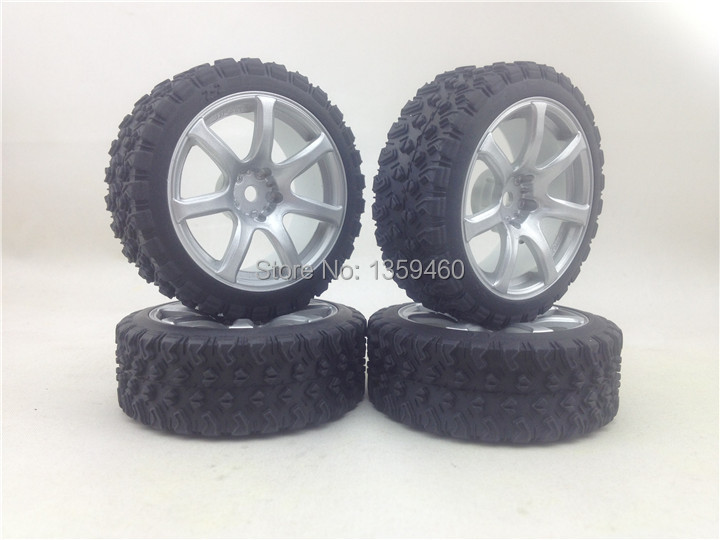 3mm Offset Fits For 1:10 Rally Touring 1/16 Buggy Crazy Price Pre-glued New 4pcs 1/10 Rally Tires Tyre Wheel Rim W7s3 painting Silver