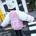 Детская Одежда Новые Девушки Утолщенной Розовый Имитация Меха Кролика Толщиной Вне Дети Куртка Одежда Розовый