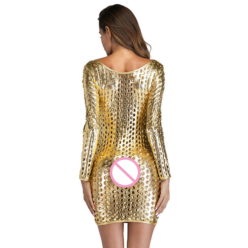 Fashion Women Faux Leather Full Holes Long Sleeve Bodycon Dress Sexy Mini Night Club Party Dresses Black Silver Gold in Dresses from Women 39 s Clothing