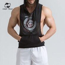Mens Compression Slimming Shirt Vest Waist Trainer CARP TALE Hot Body Shaper Fat Burner Shapewear with hooded M-XXL