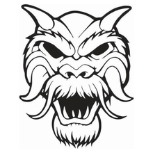 Scary Monster Face With Horns And Fur Vinyl Car Sticker Packaging Accessories Product Applique Decoration