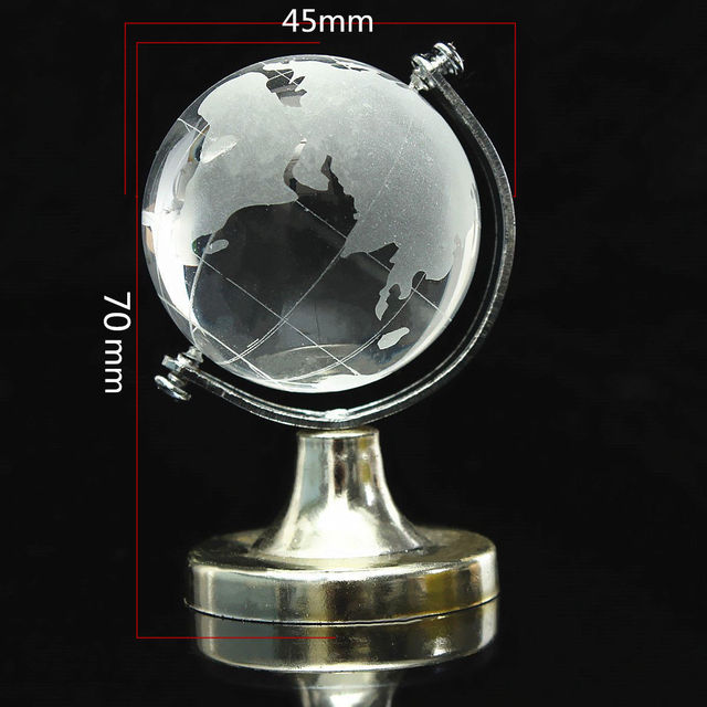 HOT SALE Crystal Glass Frosted World Globe Stand Paperweight Home Desk Wedding Decorate 3
