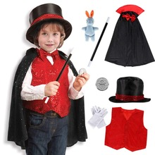 Bobasatop Magician Costume Kids Role Play Fancy Dress Accessories Set for Toddlers Boys Girls 9 Pieces
