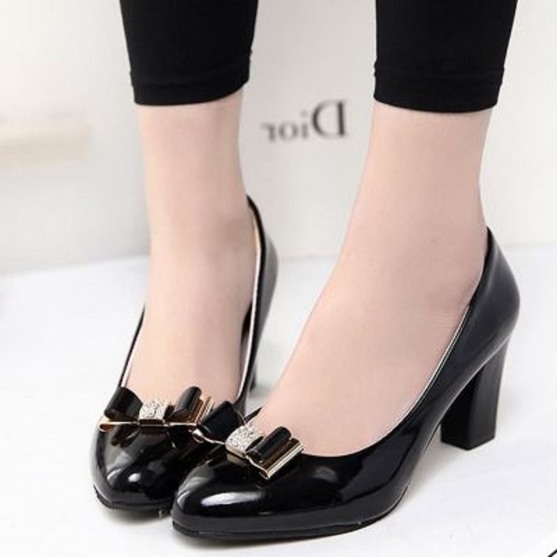 Autumn new font b women b font wild fashionable high heels pointed comfortable PU leather bow