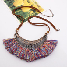 Cross-border European and American fashion accessories large crescent  Bohemia tassels popular necklaces