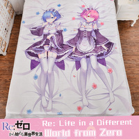 Japanese Anime Re: Zero Rem Ram Kawaii Maid Bed Sheet Bedding Bedsheet 3d Fitted Carpet Quilt Manga Duvet Covers Flannel Fabric