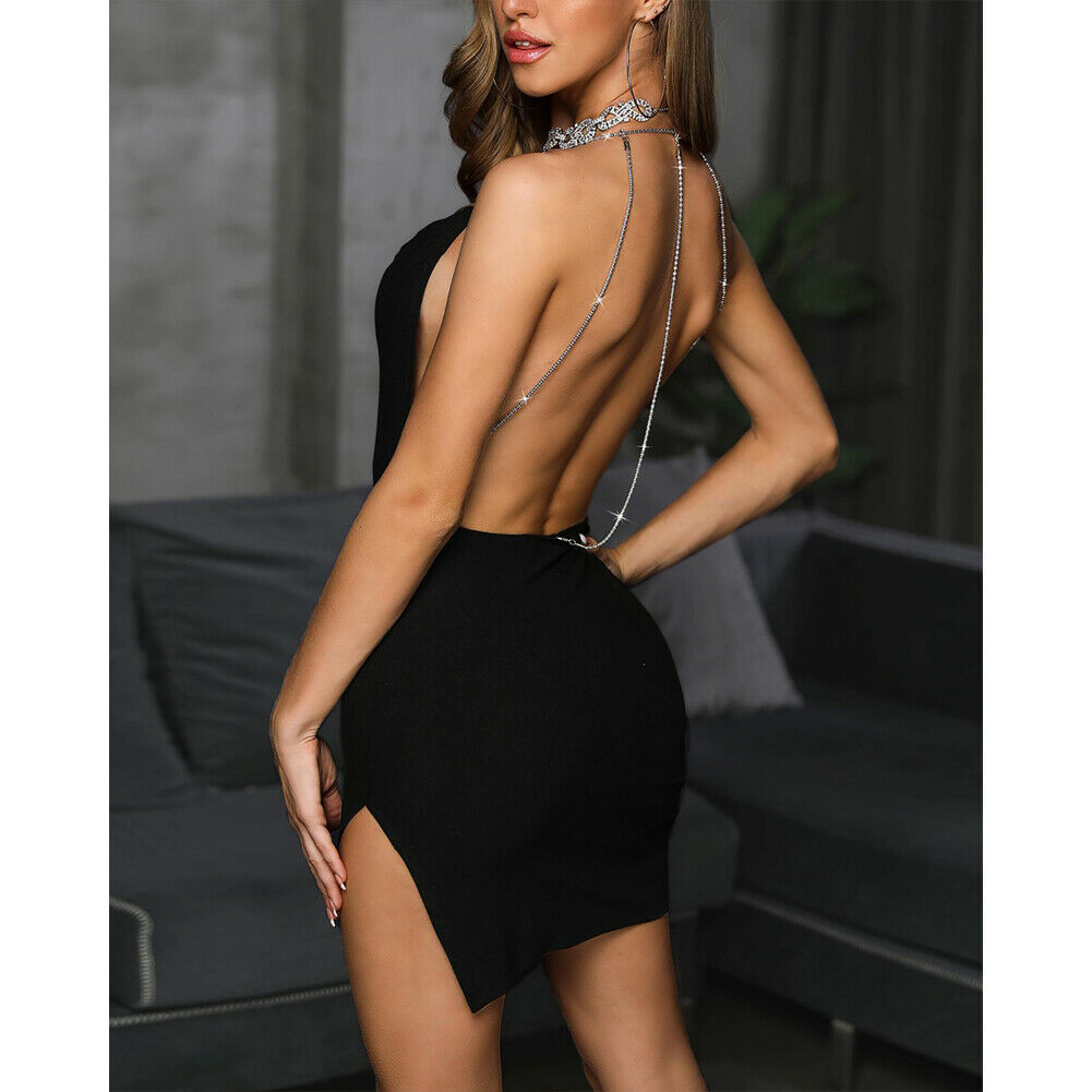 New Womens Sequins Strappy Backless Dress Ladies Bodycon Party Club Mini Dress