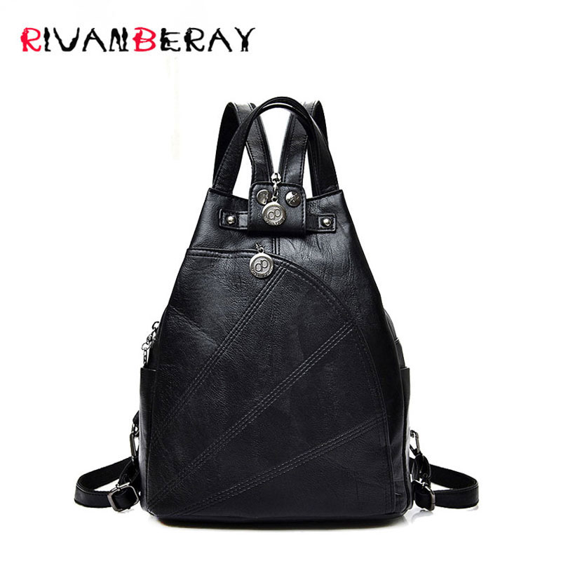 2017 New Fashion Leisure Women Backpacks PU Leather Backpacks Female School Shoulder Bags For Teenage Girls Travel Back Pack Sac