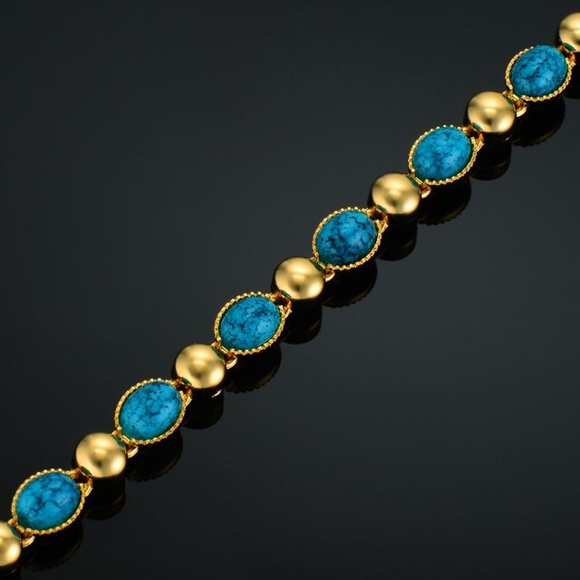 Online Shop Luxury Woman Bracelets Blue Rhinestone Bracelet Gold Color  Italian Charm Bracelet For Women Vintage Jewelry  1e9d1a79ec04