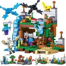 378 pcs 4 em 1 Minecrafted Legoed cidade Dragão Figuras Tijolos de Blocos de Construção Compatíveis Set Brinquedos Educativos para Crianças Presente