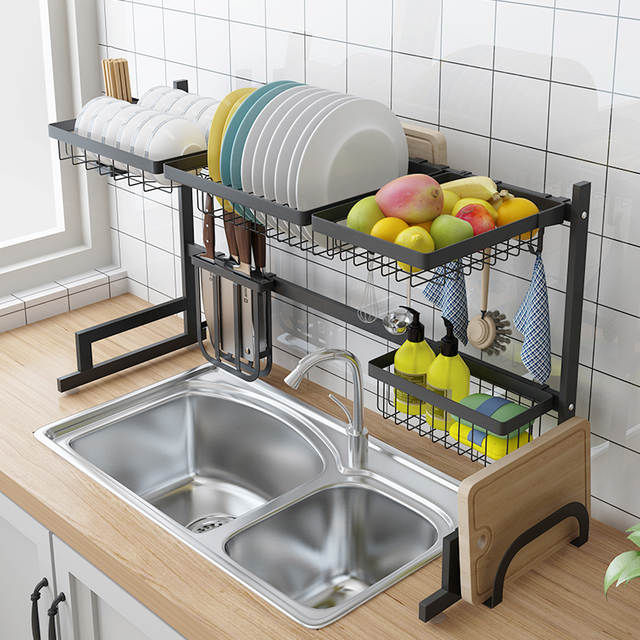 US $59.73 53% OFF|Stainless Steel Sink Drain Rack Kitchen Shelf Two story  Floor Sink Sink Rack Dish Rack Kitchen Rack-in Racks & Holders from Home &  ...
