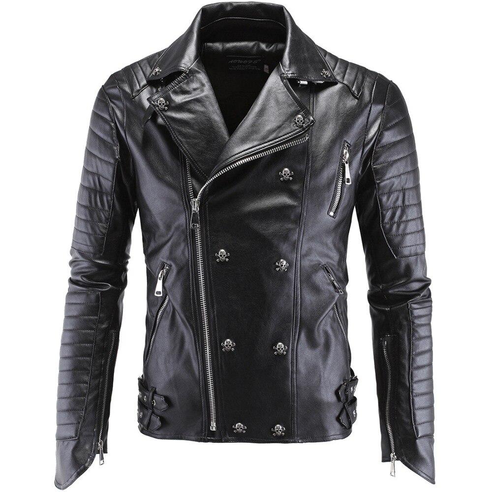 Leather jacket europe - Pu Leather Male Rock Slim Jacket Costumes Europe Style Rivet Black Fashion Coat Tide Personality Blazer