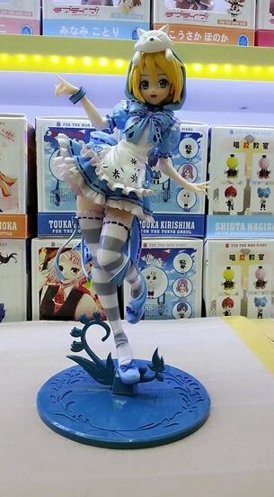 ФОТО 1pcs Anime character Hatsune Miku on blue hat action pvc figure toy tall 23cm.