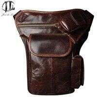 Retro Vintage Casual Multi Function 100 Genuine Leather Cowhide Men Waist Bag Packs Shoulder Leg Bag