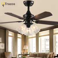 Trazo Black Vintage Ceiling Fan With Lights Remote Control Ventilador De Techo 220 Volt Bedroom Ceiling Light Fan Lamp E27 Bulbs