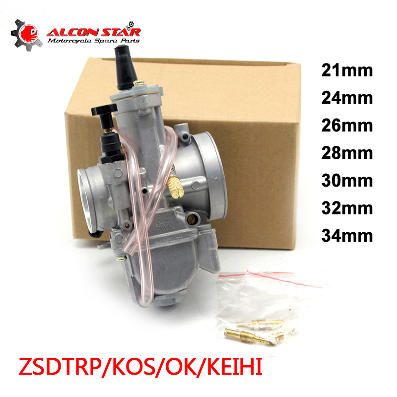 Alconstar- 21 24 26 28 30 32 34mm Keihin PWK KOSO OKO Motorcycle Carburetor With Power Jet 2T/4T Off Road Cafe Racer 75CC-250CC
