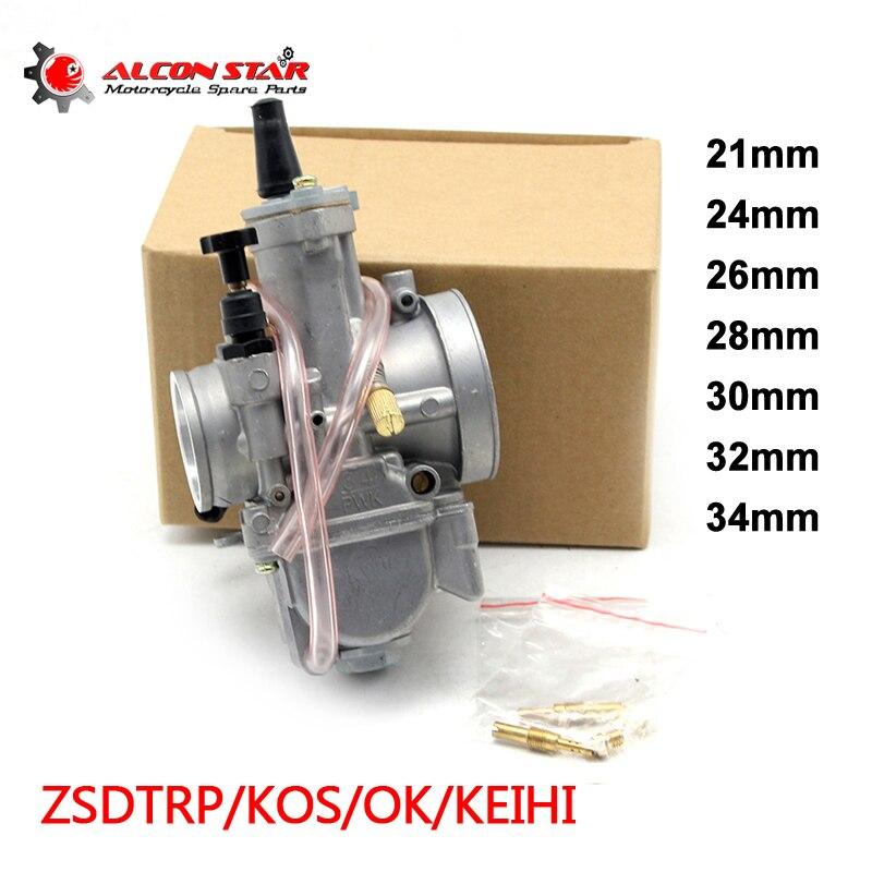 Alconstar-21 24 26 28 30 32 34mm Keihin PWK KOSO OKO Moto Carburateur avec Puissance Jet 2 t/4 t Off Road Café Racer 75CC-250CC