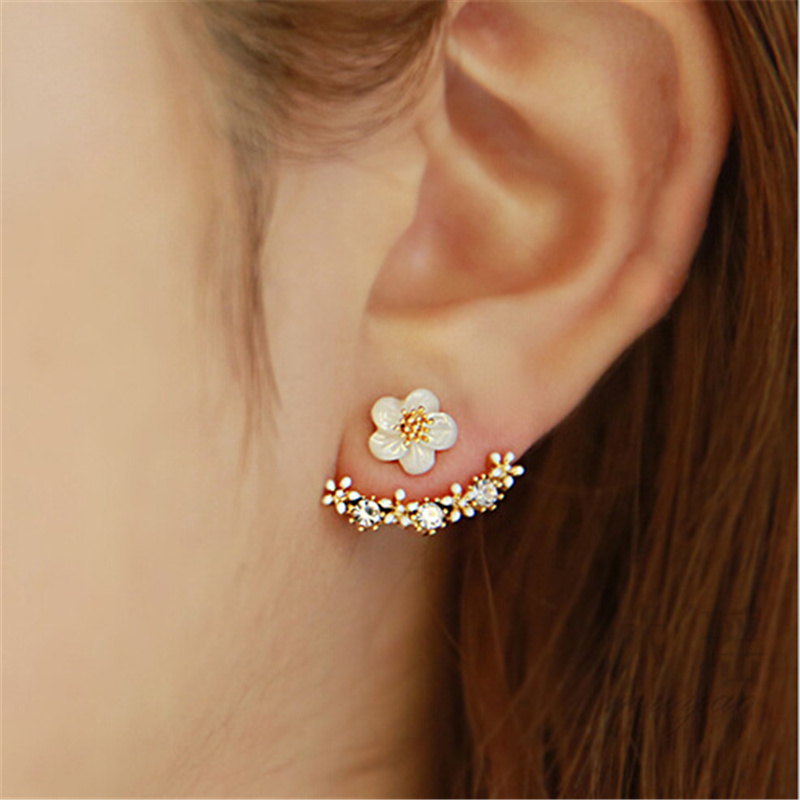 2016 Fashion 925 Sterling Sliver Daisy Flower Ear Jacket Shell shape Gold Plated Rhinestone Ear Clips Stud Earrings for women
