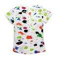 Más nuevo 2016 de La Venta Caliente Divertido de Los Niños Camiseta de Algodón Chicos de Moda de Verano de La Muchacha Tops Corto SleevePattern Imprimir Top Tees Camiseta