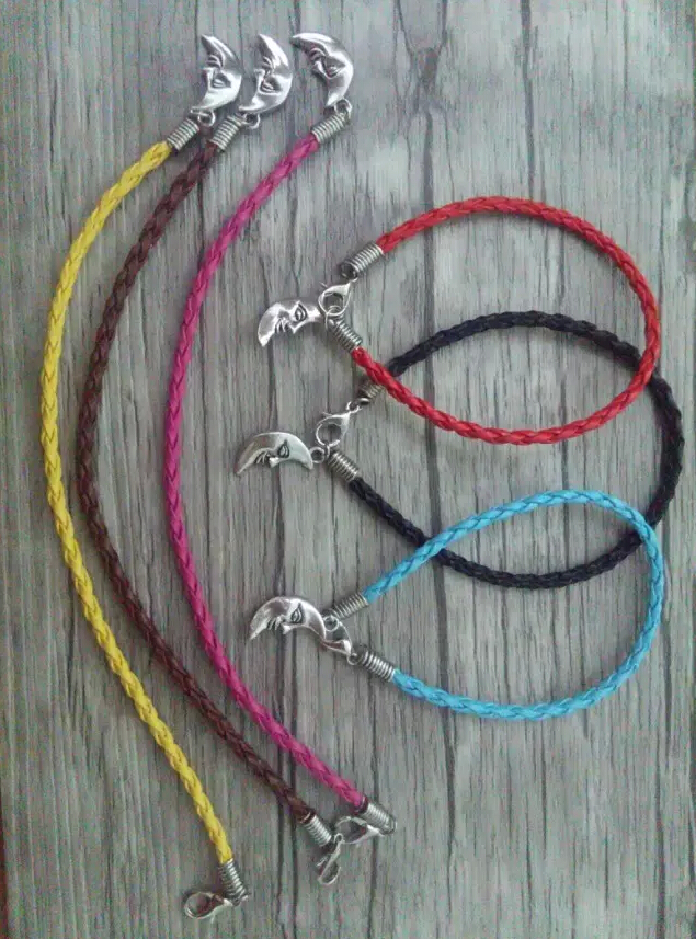 Moon Goddess pendants Fashion Ancient silver Charm Red Braided Leather Bracelets&anklets For woman jewelry 50pcs A65