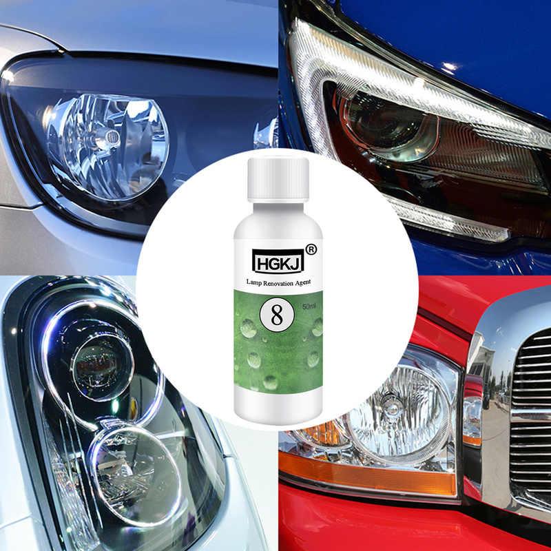 HGKJ רכב פנס תיקון חידוש HGKJ-8-50ML מנורת ליטוש סוכן + ניקוי סמרטוט נייר זכוכית ערכת אוניברסלי אוטומטי טיפול כלים