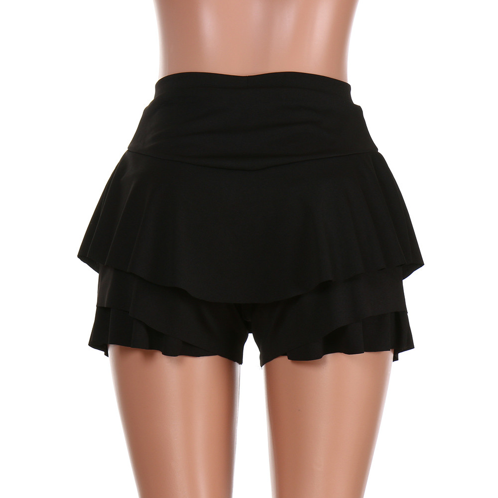 Skirts Womens Layered Ruffled Frill Skorts High Waisted Mini Skirt Shorts Red Yeelow Pink Black
