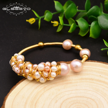 XlentAg Original Natural Fresh Water Pink Pearl Handmade Open Bangle For Women Wedding Party Luxury Jewelry Pulseira GB0116
