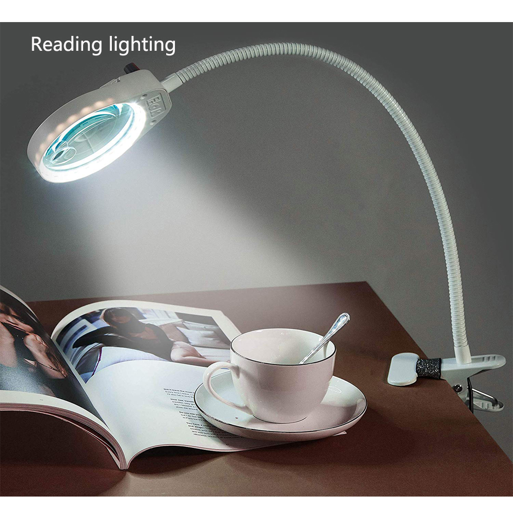3x 10x Illuminated Reading Magnifier Lamp with Bendable Gooseneck Clip Magnifying Glass 38 LED light Portable Gripping Magnifier in Magnifiers from Tools