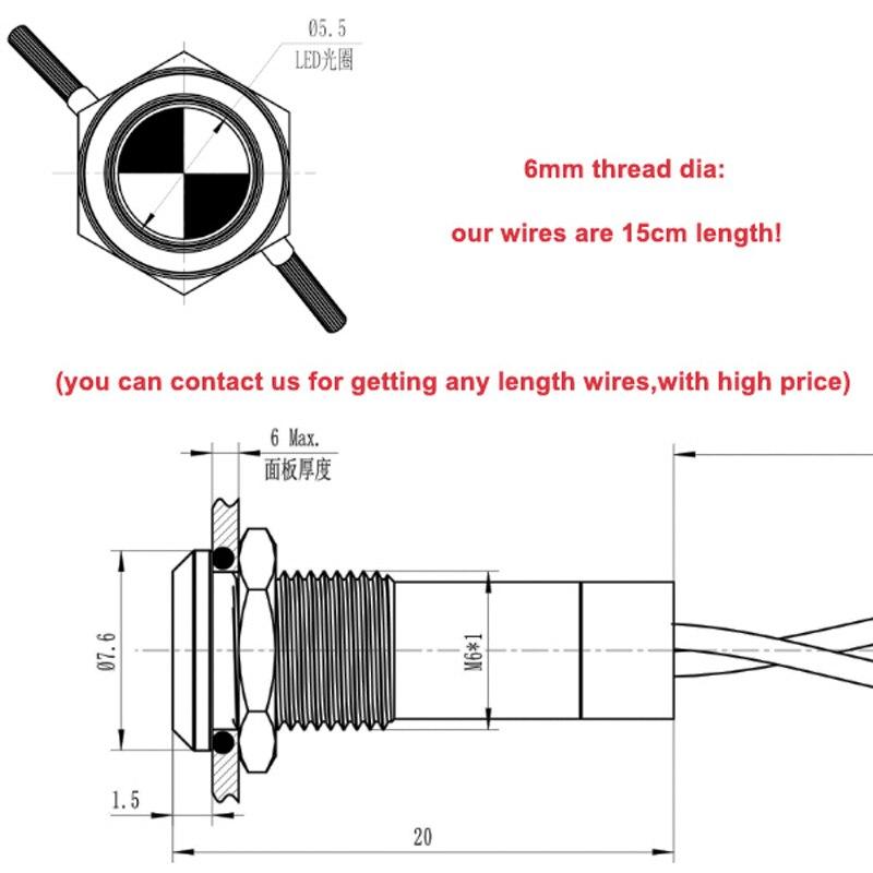 Automotive led pilot lamp 6mm Mounting dia, CMP waterproof metal 6v