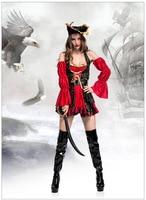 Venda quente Adulto Feminino Cruel Mares Capitão Pirata Buccaneer Cosplay Roupas das Mulheres Traje Sexy Halloween Fancy Dress & Hat