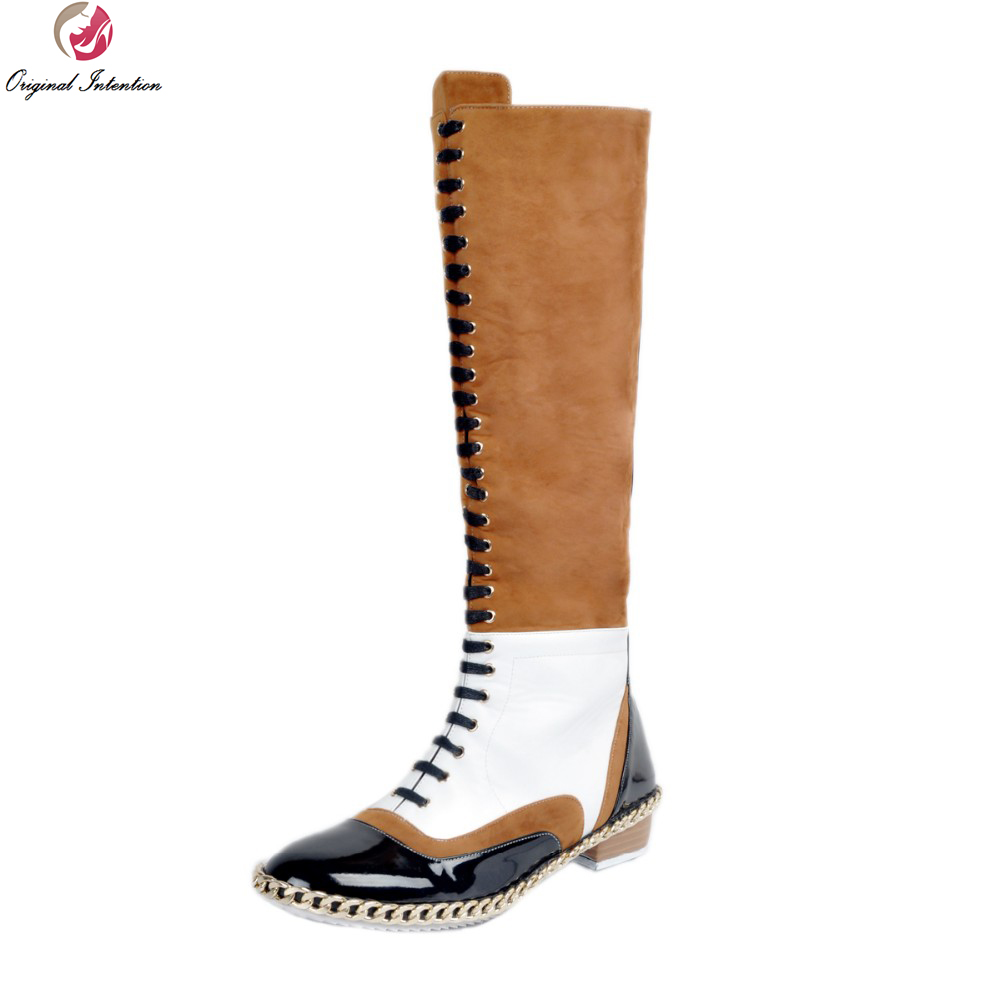 Original Intention Fashion Women Knee High Boots Stylish Multicolors Round Toe Square Heels Boots Shoes Woman Plus US Size 4-15 original intention stylish women mid calf boots round toe square heels boots high quality black shoes woman plus us size 4 15