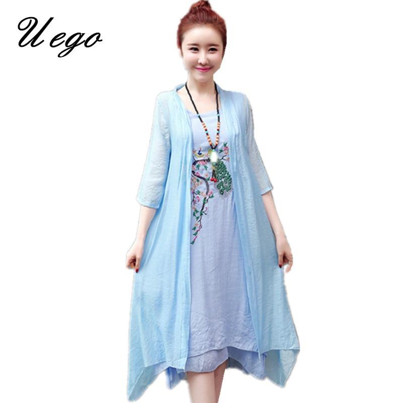 2019 New Arrival Soft Cotton Linen Summer Dress Fashion Embroidery Phoenix Loose Two Piece Set Dress Suits Women Casual Dress 1