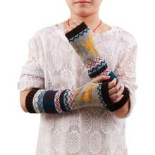 Женские Стильные теплые зимние перчатки ручной вязки, теплые митенки без пальцев, женские перчатки# L20
