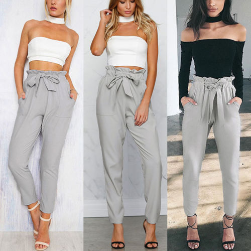 9384f0e81d0eed Women High Waist Elastic Harem Pants Casual Chffion OL Lady Ankle length  Capris Trouser Women Clothing Pencil Pants-in Pants & Capris from Women's  Clothing ...