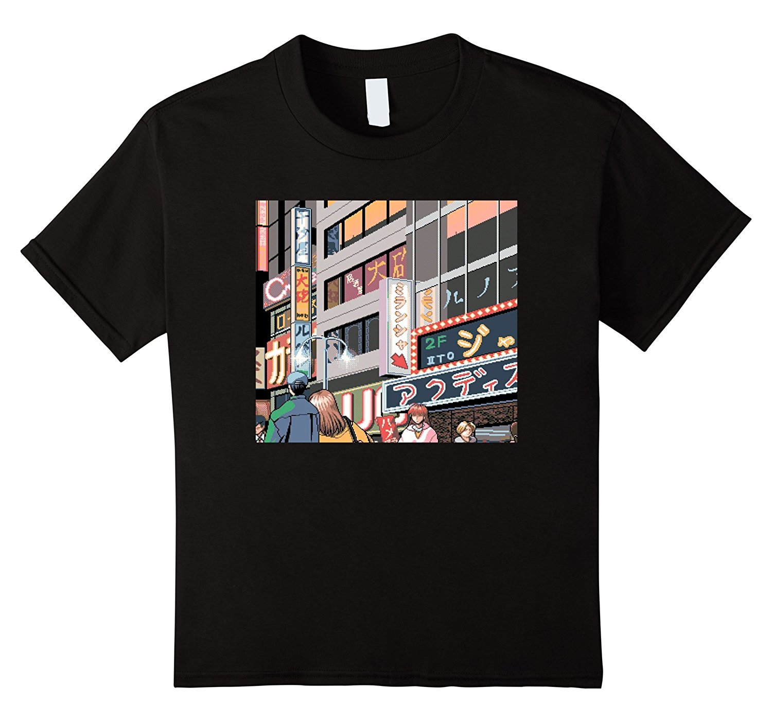 Neon Night Tokyo Japan Neon Signs Anime 8-Bit City T-Shirt