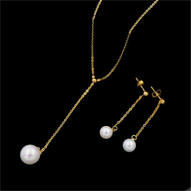 NJ 100 Genuine Simple and Elegant OL Single Pearl hanging Necklace