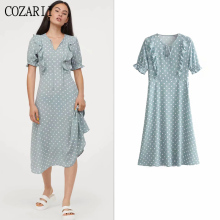 COZARII summer dress women vestidos casual style ruffles V-Neck mid-calf length de fiesta party tops plus size