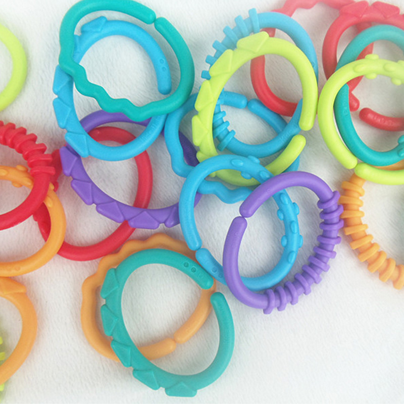 24Pcs Baby Teether Toy Baby Rattle Colorful Rainbow Rings Crib Bed Stroller Hanging Decoration Educational Toys for Kids New