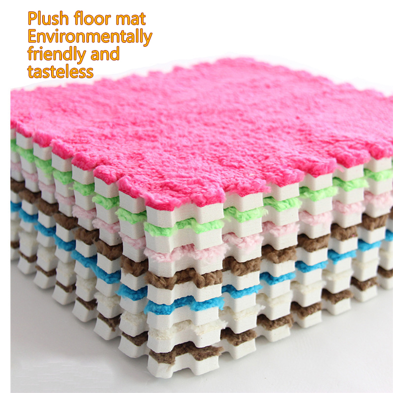 Soft Foam With Plush Baby PlayMat Colorful Split Joint Puzzle Villi Shaggy Rug Baby Protect Game Blanket Mat Floor Carpet