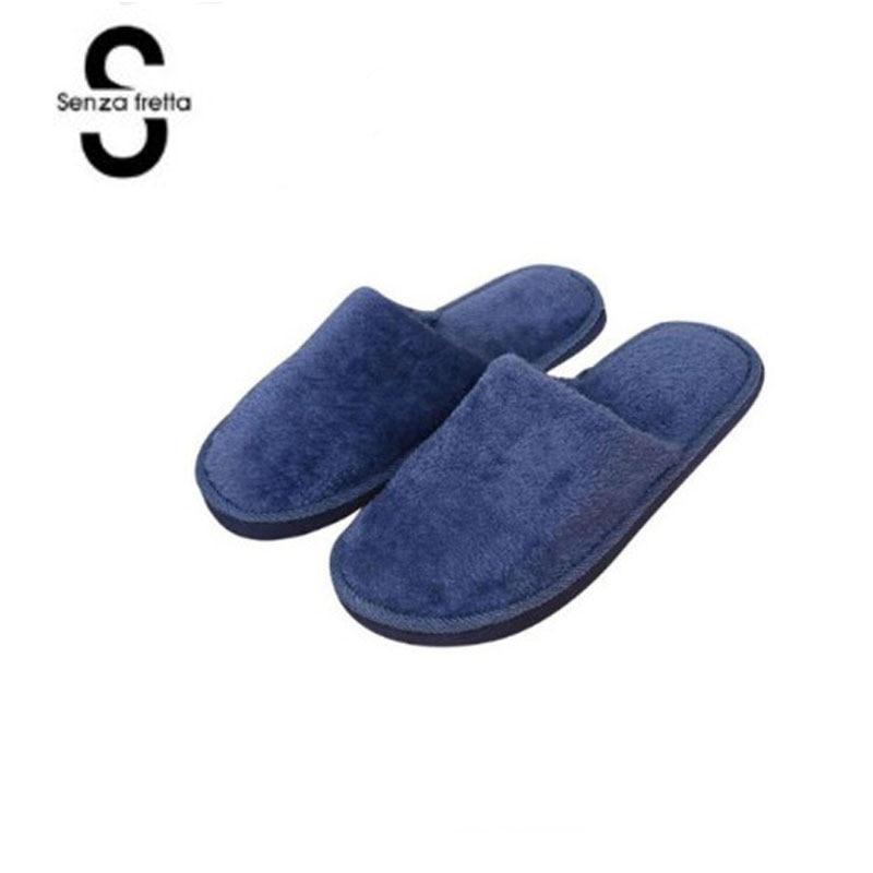 Senza Fretta Men Shoes Winter Warm Home Slippers Men Fashion Couple Men Plush Warm Slippers Indoor Soft Couple Indoor Slippers
