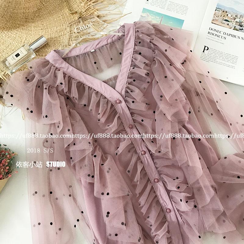 Soie Femmes V Longues Dames À Doux Élégant Printemps Shirt Blouse 2019 rose Mode Tops De couche Mousseline Manches Multi En Polka Col Volants Beige Dot UwOtnqZv