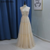 Champagne Tulle Boho Wedding Dresses 2018 Deep V Neck Backless Bridal Gowns Lace Appliques Tiered Beach
