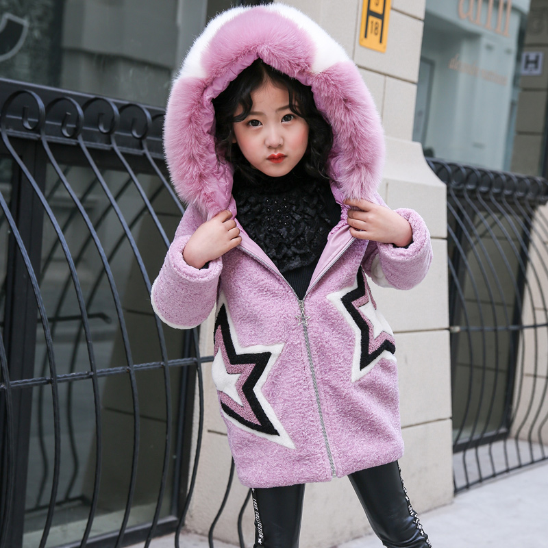 2018 New Autumn Winter Coat Girls Clothing Faux Fur Fleece Warm Jacket Fashion Hooeded Outerwear Children Kids Cotton-parka 2018 girls winter coat warm jacket fashion hooeded jeans outerwear children clothing kids cotton parka coats