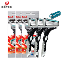 New Good Quality Dorco Razor Men 3 Pcs/lot 6-Layer Blades for Shaving Stainless Steel Safety